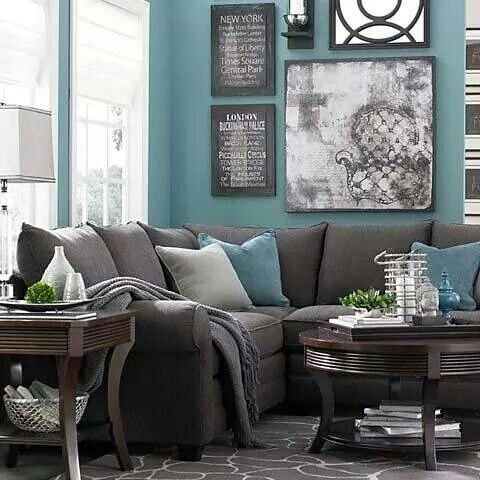 sala color turquesa gris Home decor Pinterest Living rooms