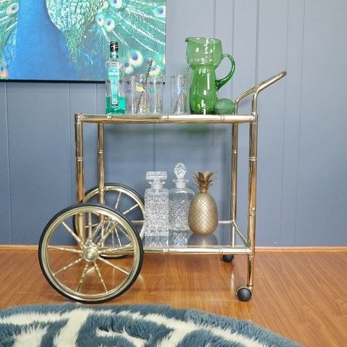 Vintage 1970s Faux Bamboo Bar Cart :: Gold Chrome - Gold Label Vintage