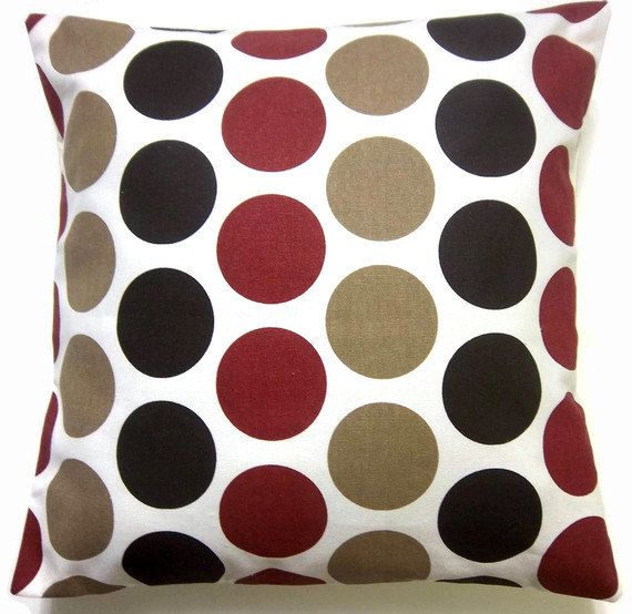 Black White Tan Throw Pillows : RESERVED for Sara Two Dark Brown Red Tan White Pillow Covers Large Polka Dot Decorative Toss ...