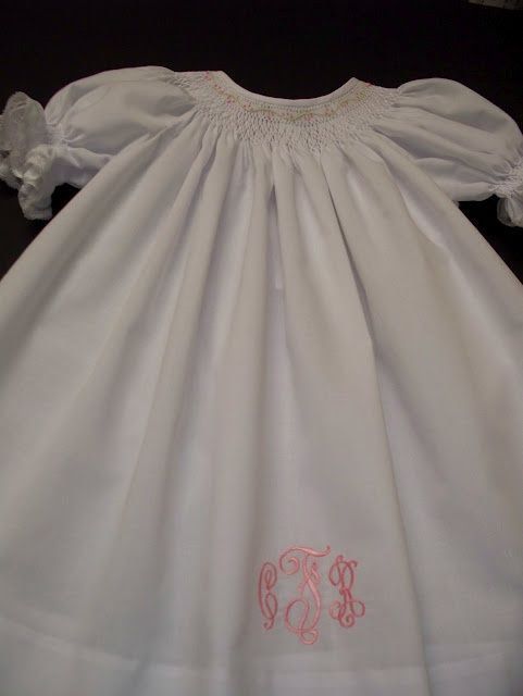 cc0802635 Hand smocked bishop dress (including monogram).  60