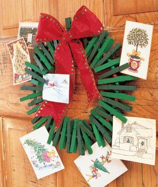Christmas wreath made from clothespins