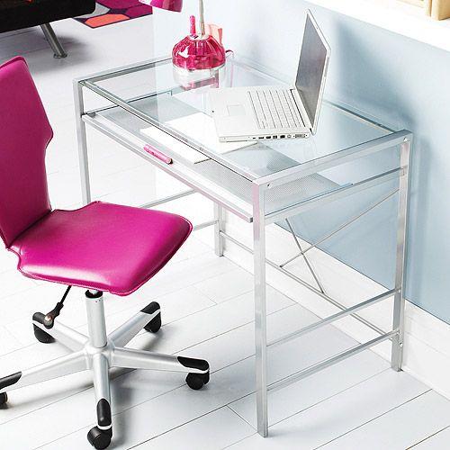 Walmart Com Mainstays Glass Top Desk Clear Furniture Glass