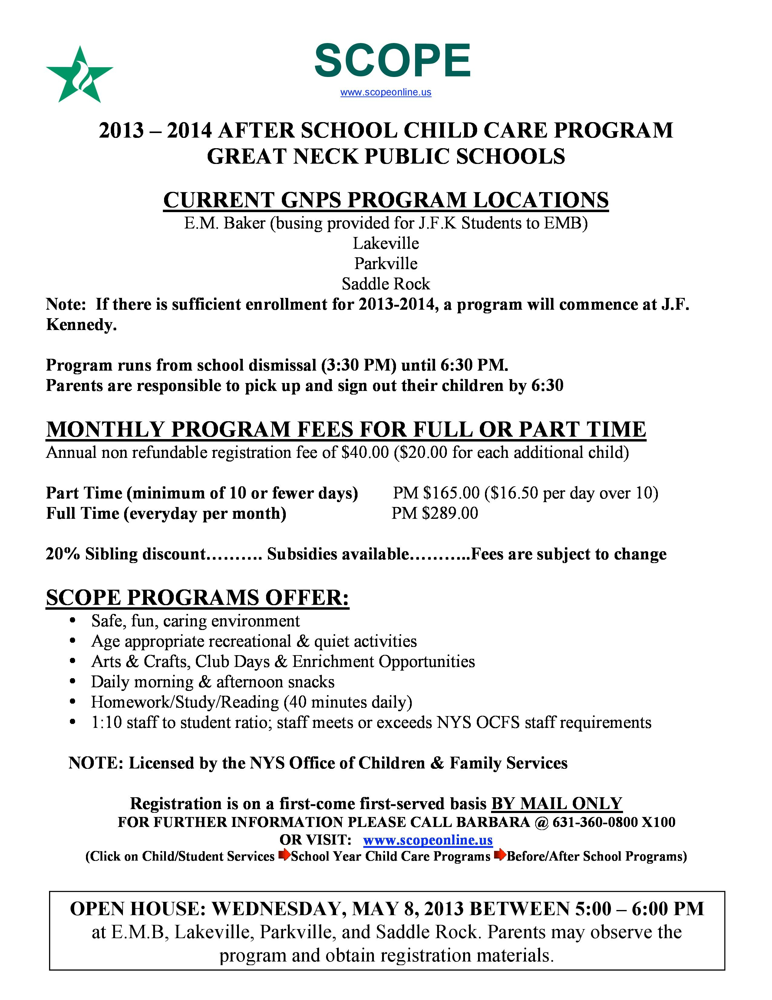 2013 2014 After School Child Care Program Great Neck Public Schools After School Child Care Public School Great Neck