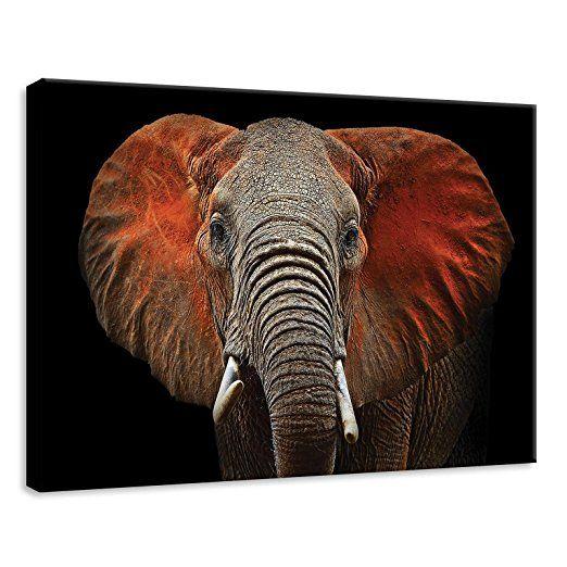 DekoShop Leinwandbild Wandbild Kunstdruck Vlies Leinwand Elefant mit