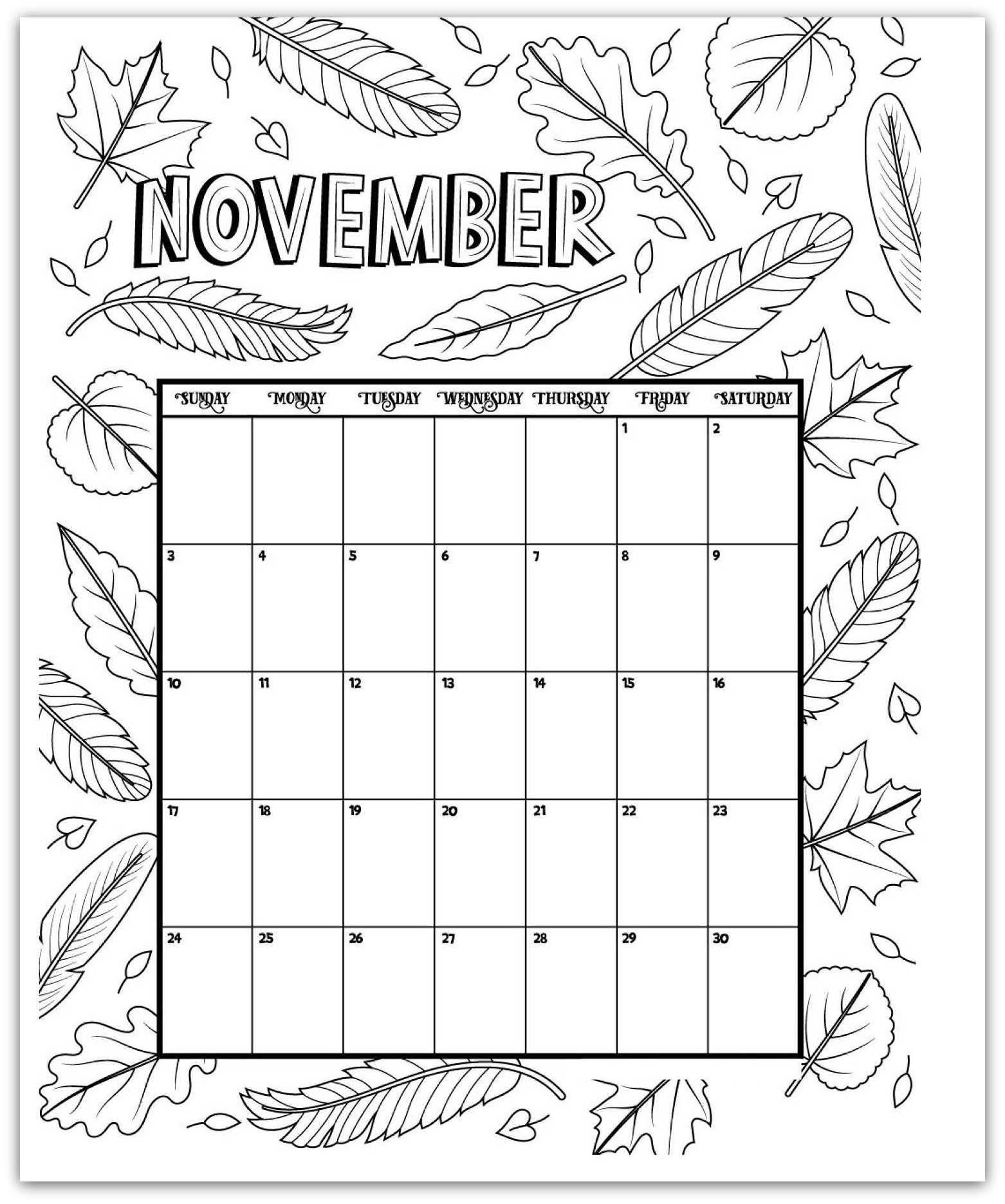 November Coloring Page Printable Calendar