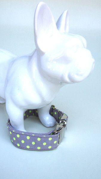 Hund Leinen Stoff Hundehalsband Neonpunkte Grau Und Gelb 2 5 Cm Brei Ein Designerstuck Von Stitchbully Bei Dawanda Hundehalsband Hunde Gelb