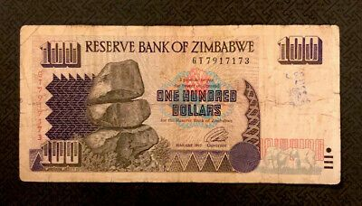 Details About Zimbabwe 100 Dollars 1995 P 9 World Currency In