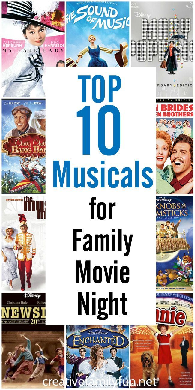 Top 10 Musicals For Family Movie Night Creative Family Fun Family Movies Family Movie Night Musical Movies