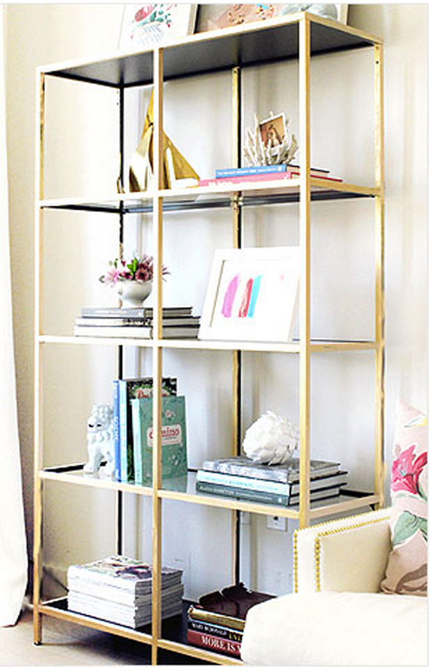 Great Love This Bookcase! Take A Simple Black Ikea Bookcase, Spray Paint Gold. Wow Nice Look