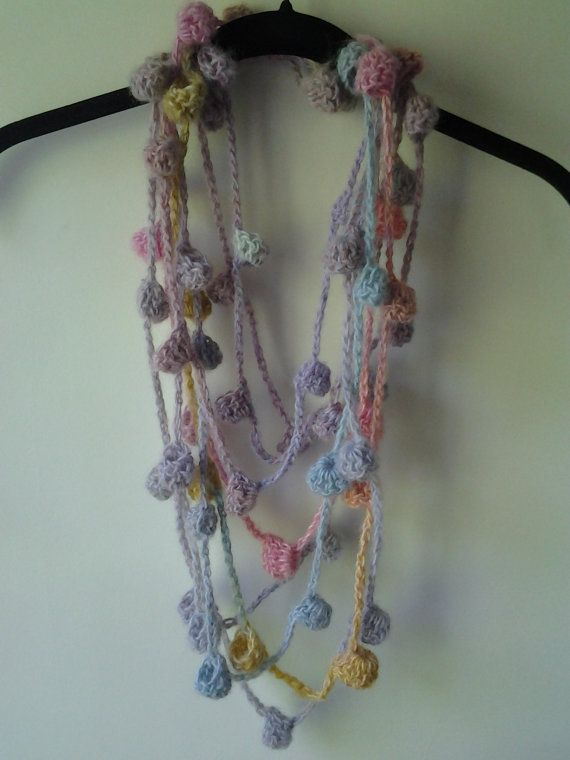 Crocheted  Fiber Yarn Necklace. Multicolored Wool by AmyBaglione, $42.00