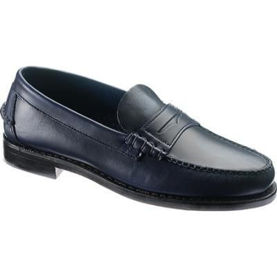 $144, Navy Leather Loafers: Sebago Classic Ink Blue Full Grain Leather Penny Loafers. Sold by Shoebuy. Click for more info: http://lookastic.com/men/shop_items/39380/redirect