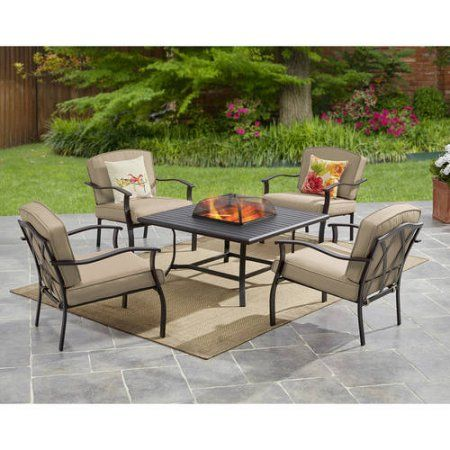 Free shipping buy mainstays belden park 5 piece fire pit set tan at