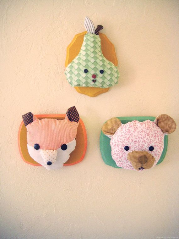 woodland fox plush wall mount animal pals for your walls whimsical