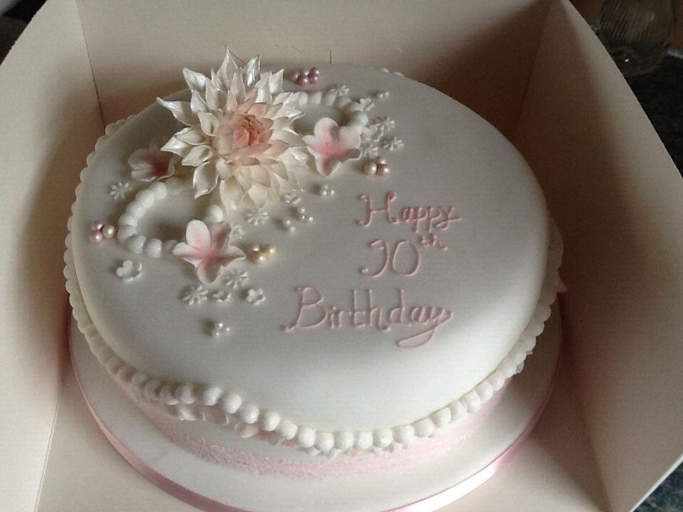 Dahlia 90th Birthday Cake 90th Birthday Cakes Elegant Birthday