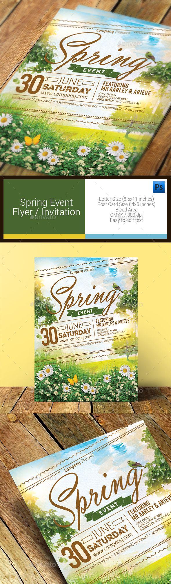 Spring Event Flyer Invitation Photoshop Psd Spring Break
