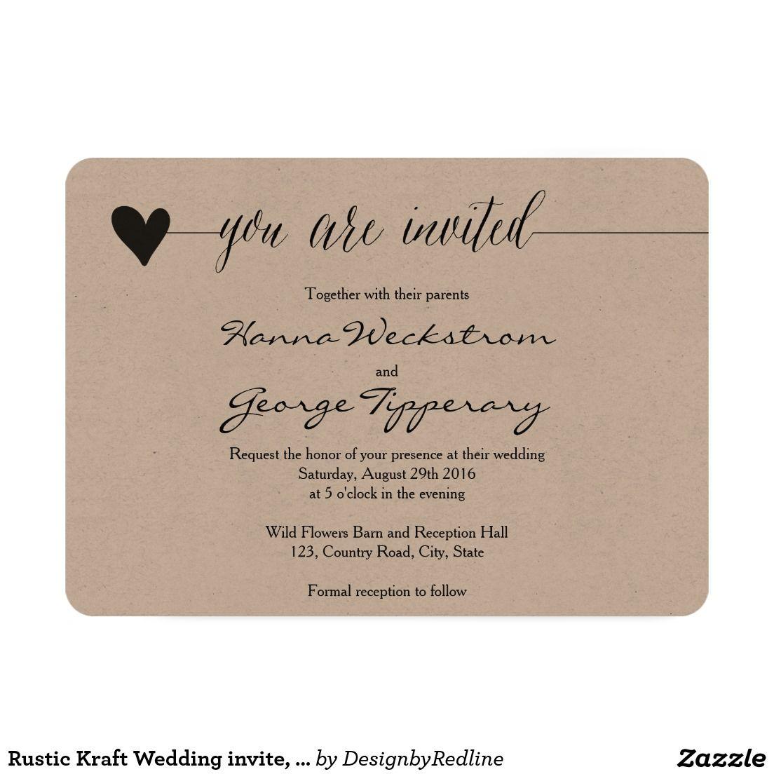 Create Your Own Invitation Zazzle Co Uk Kraft Wedding Invitations Kraft Wedding Wedding Invitations Rustic