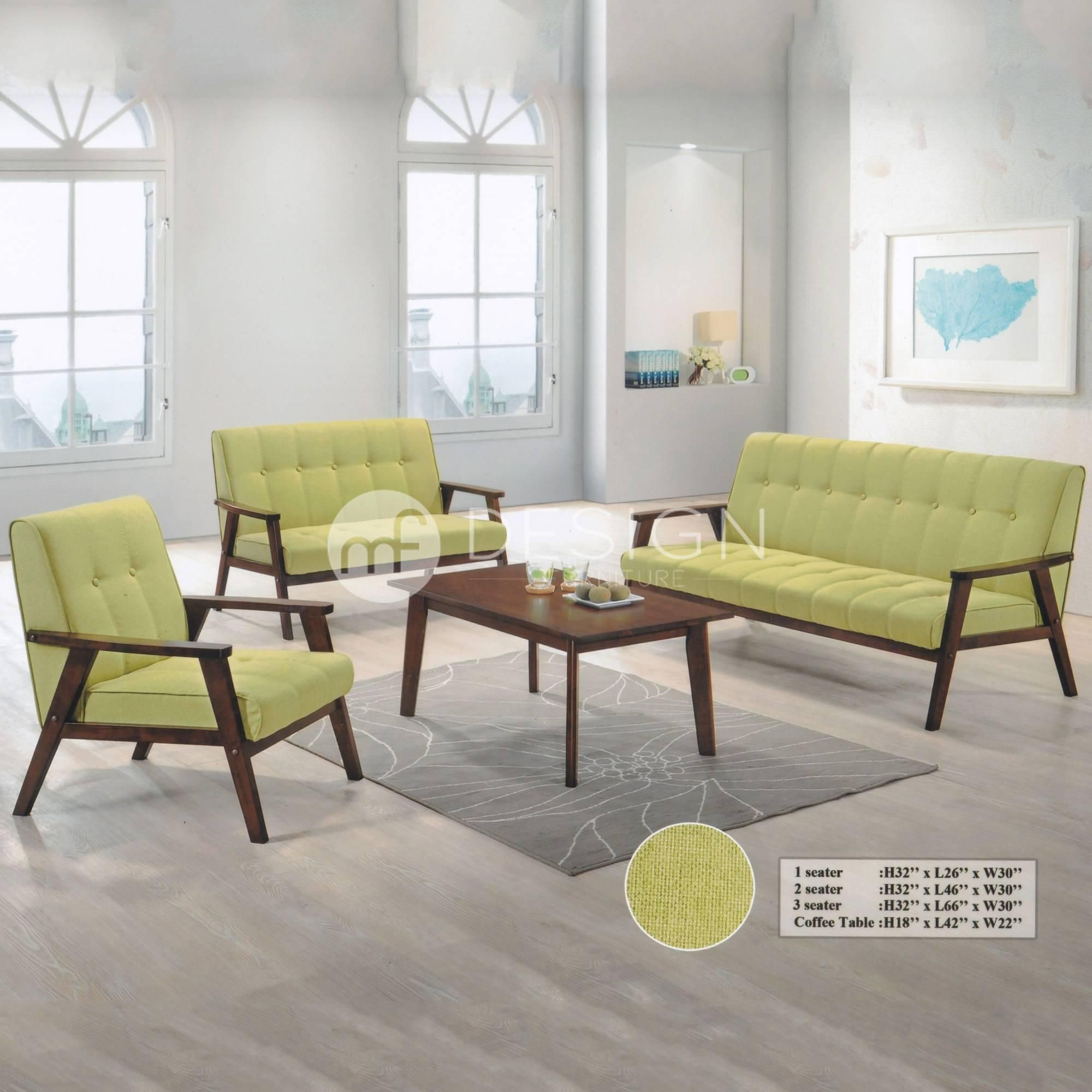 NORDIC 1 2 3 TABLE ANTIQUE SOFA SET GREEN
