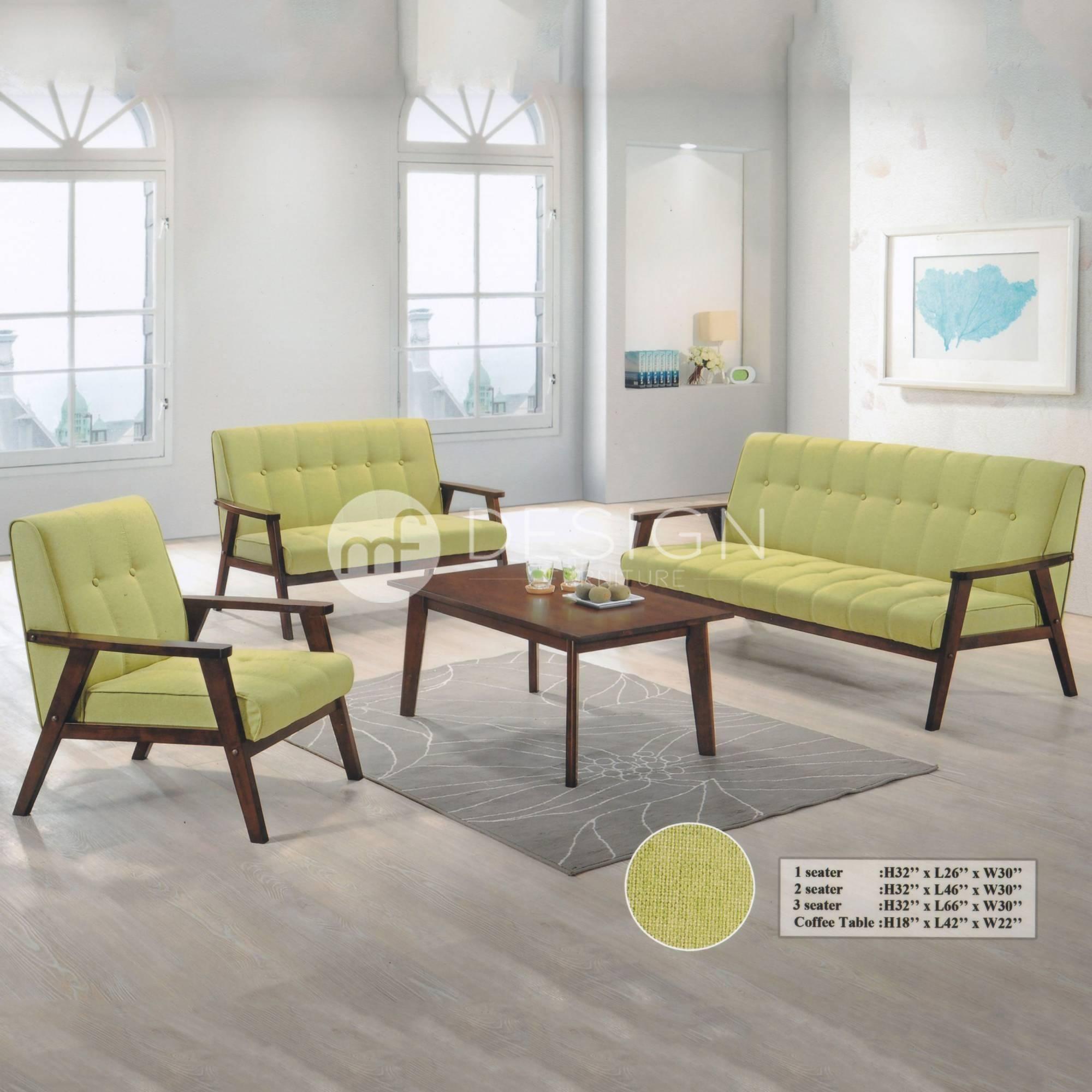 Furniture Design Malaysia nordic 1+2+3+table antique sofa set (green) | mf design
