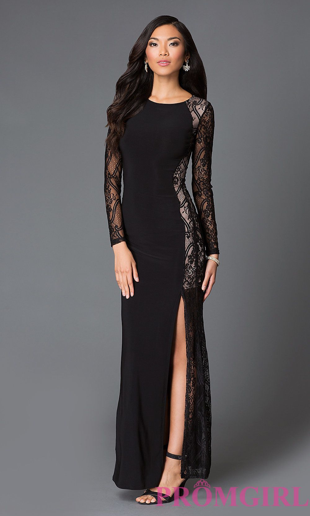 Long sleeve black dress prom