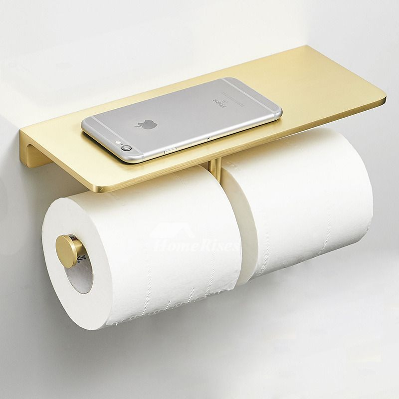 Luxury Double Gold Brushed Brass Toilet Paper Holder Hotel Wall Mount Paper Towel Holder Kitchen Bathroom Tissue Dispenser With Shelf In 2020 Brass Toilet Paper Holder Paper Towel Holder Paper Towel