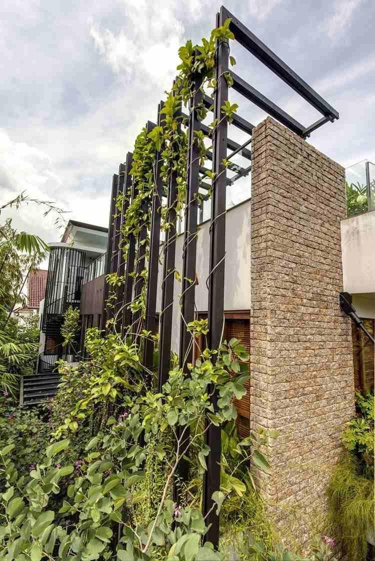 jardin vertical exterieur plantes grimpantes sur une construction en acier