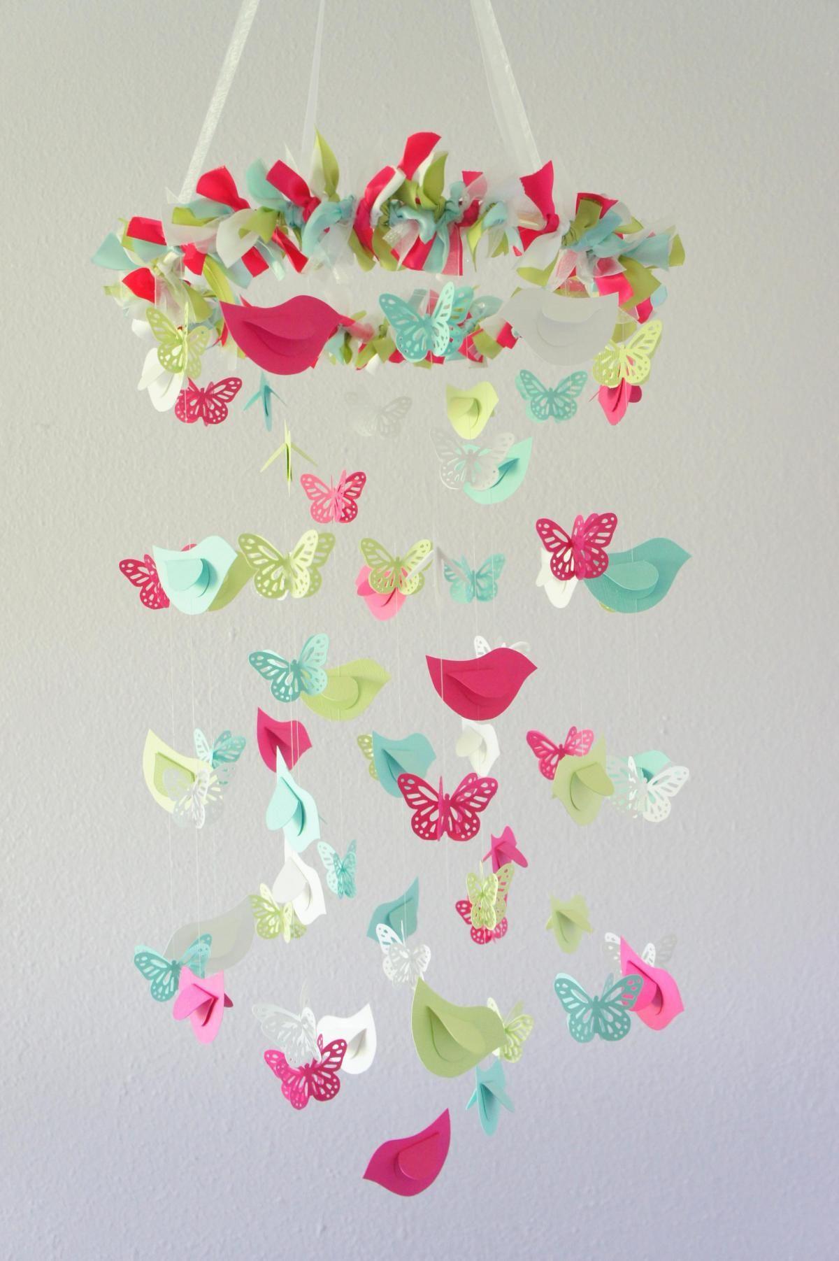 Butterflies Birds Nursery Mobile In Bright Pink Aqua Yellow Moviles Para Niños Manualidades Móviles Para Bebés