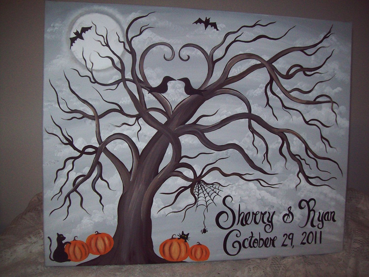 Halloween Wedding guestbook tree Canvas....150-170 Guests....18 x ...