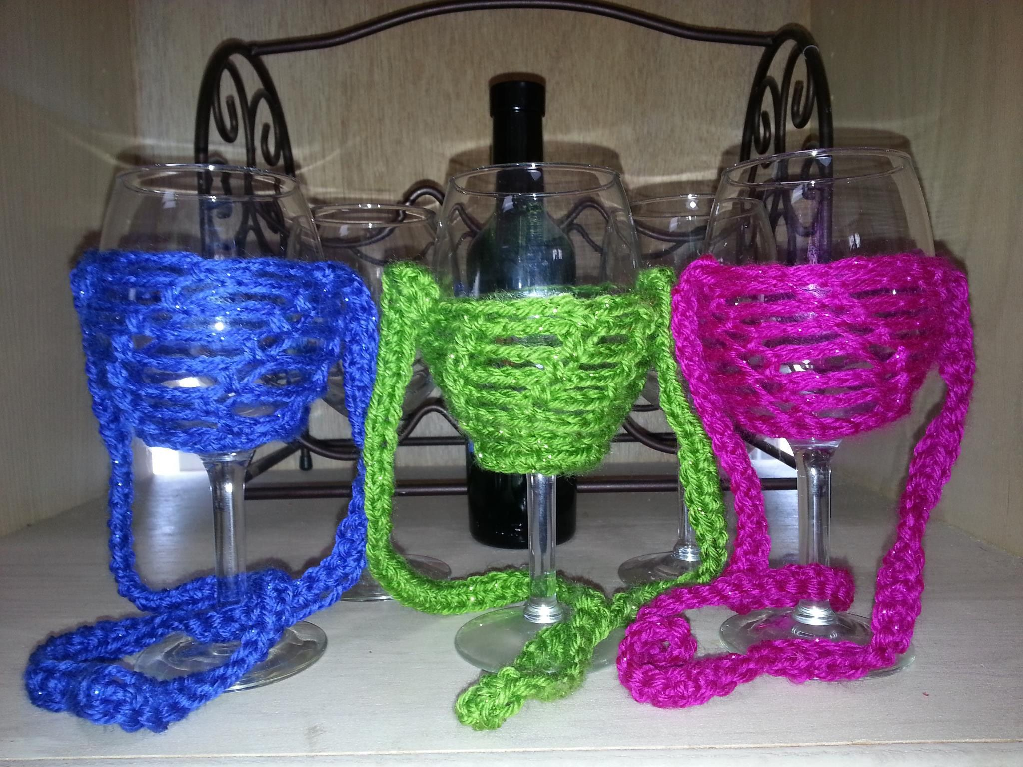 Free Pattern Crochet Wine Glass Holder : Crochet Wine Glass Lanyards Crochet Gift Ideas ...