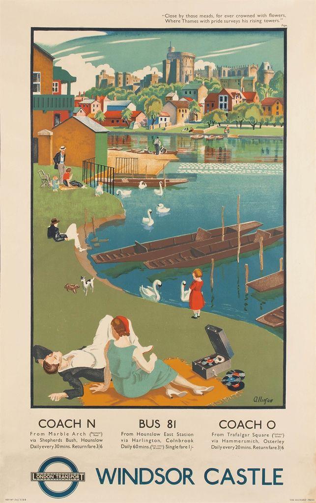 BERKSHIRE - Windsor Castle, Adrian Allinson (1890-1959) for London ...