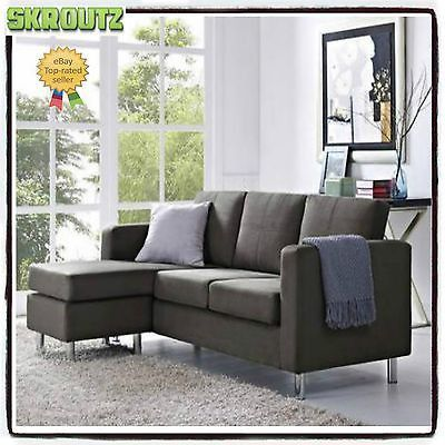 Gray Sectional Sofa Microfiber Chaise Lounge Living Room Modern Couch  Reverse