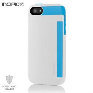 Incipio Apple Iphone 5 Stowaway Credit Card Hard Shell Case With Silicone Core (white/cyan Blue)