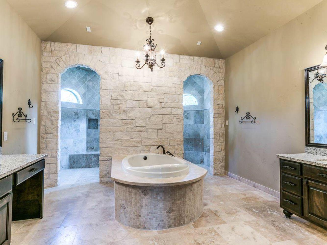 Custom bathroom with walk through shower... Yep that's