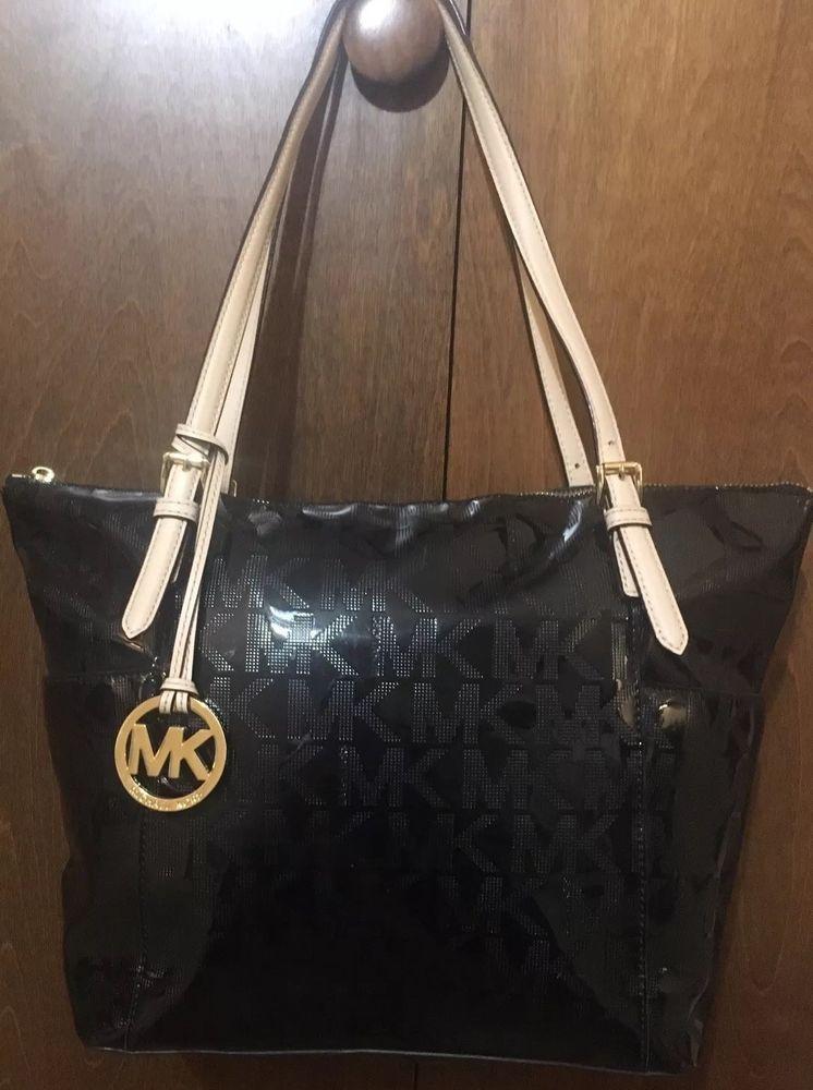 8a470e8f6850 fashion Michael Kors MK Black Patent Leather Monogram Jet Set Tote Bag Purse