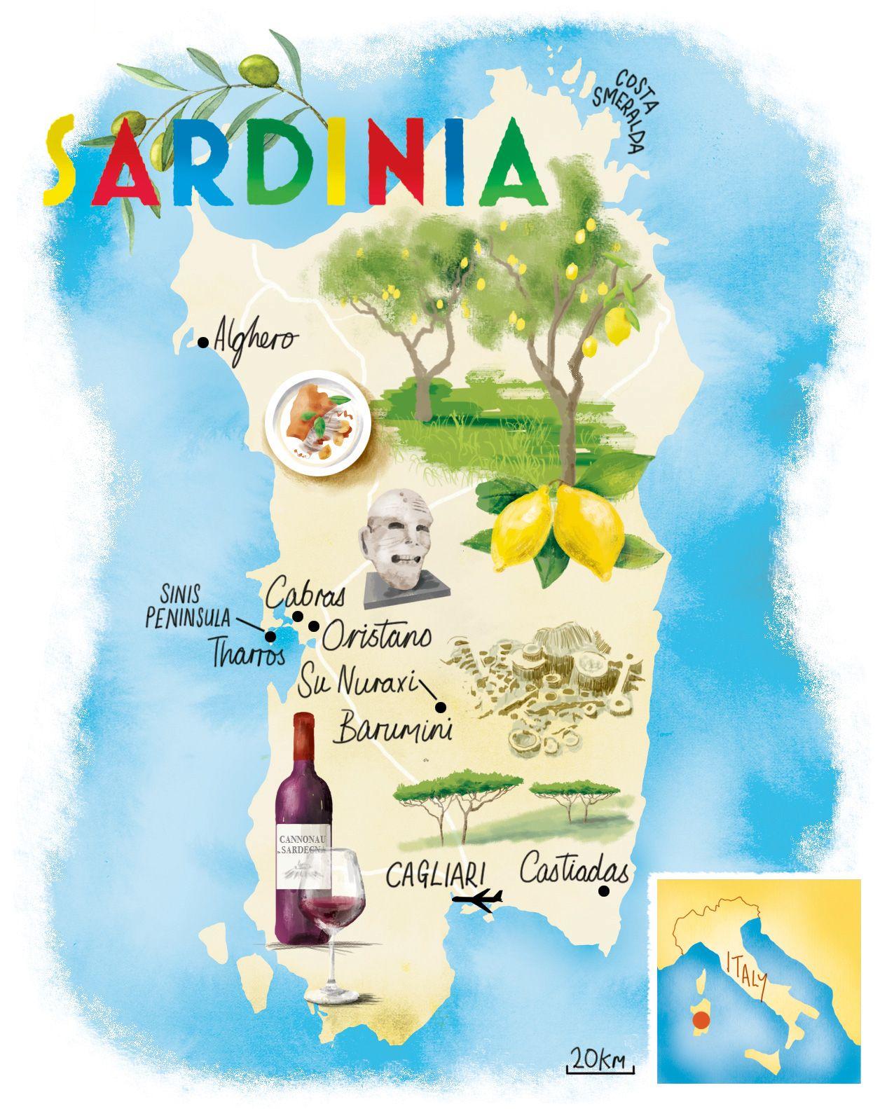 Sardinia Map By Scott Jessop Map Sardegna Sadrinia Italy