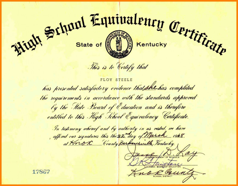 This is a picture of Printable Ged Certificate pertaining to certificate apprenticeship