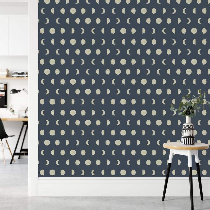 Moon Phases Wallpaper Peel And Stick Removable Wallpaper Etsy Nursery Wallpaper Modern Wall Decor Wall Decor