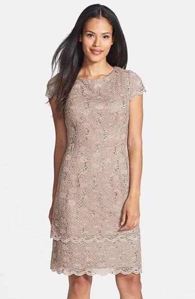 Alex Evenings Tiered Lace Sheath Dress Regular Amp Petite