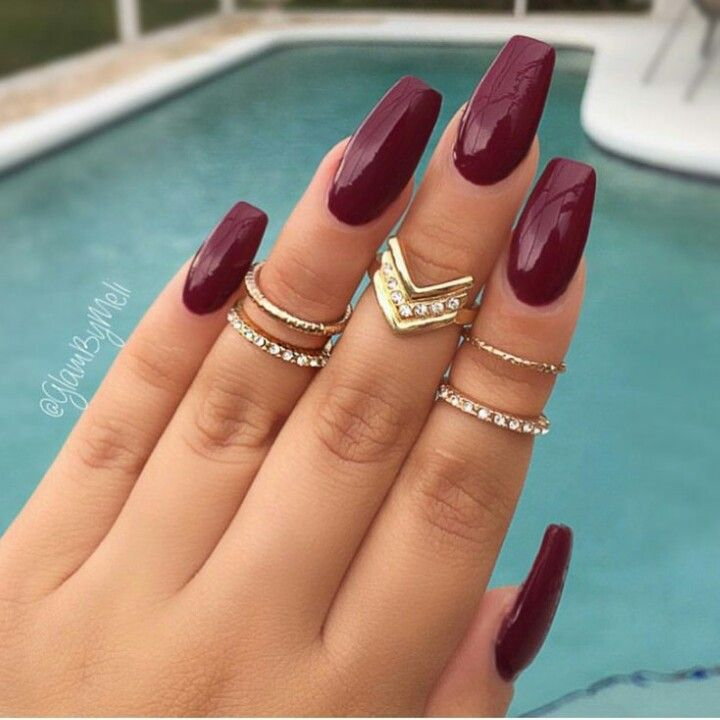 Glossy Maroon Acrylic Nails Autumn Burgundy Matte