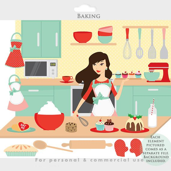 Baking Clipart Cooking Clip Art Kitchen Girl Aprons Food