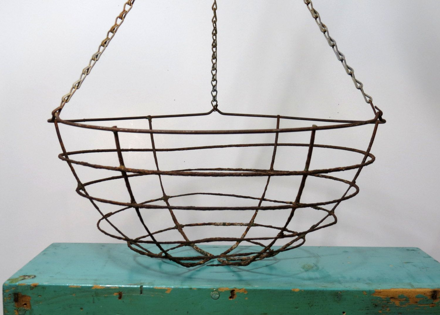 Vintage Wire Hanging Basket . Rusty Rustic . Planter or Storage for ...