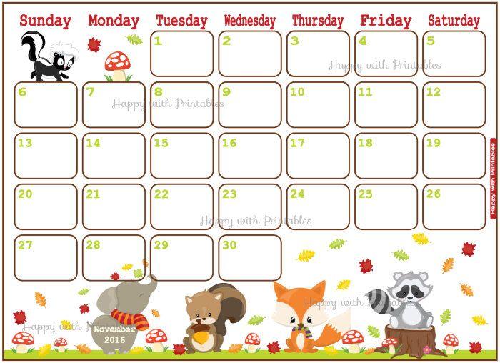 November 2016 Calendar Kids : Printable calendar november planner diy