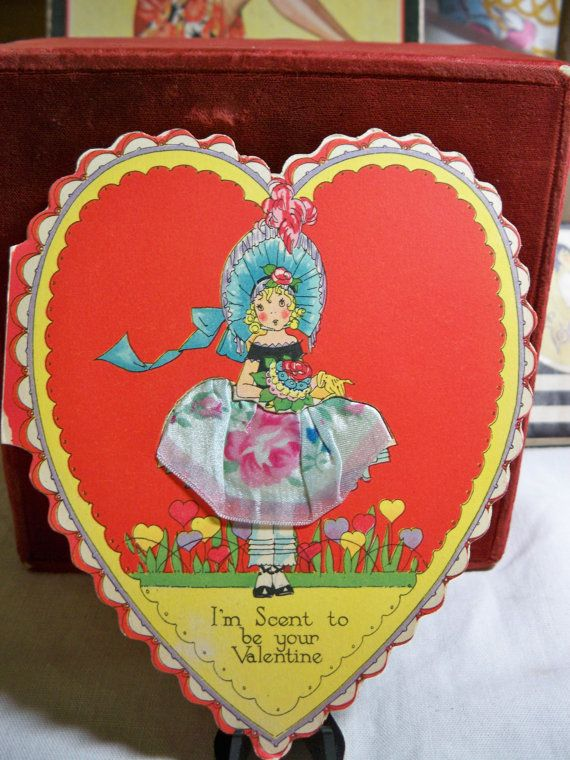 Art Deco 1920's-30's die cut  novelty Heart Shaped  Valentines Day Card real fabric skirt perfume holder  girl pantaloons Rust Craft