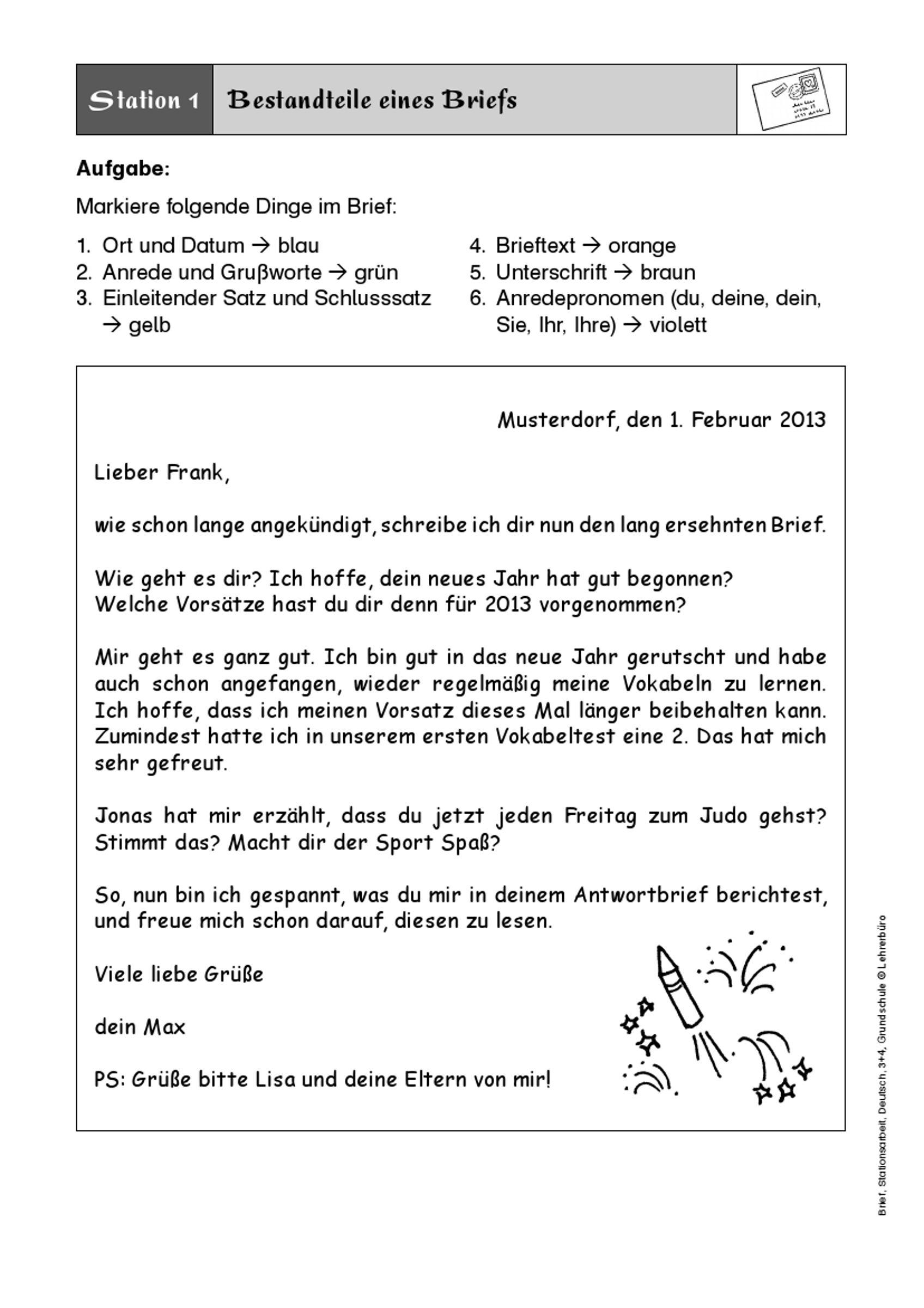 Musterbriefe Reklamationen Beantworten : Bildergebnis für brief schreiben klasse
