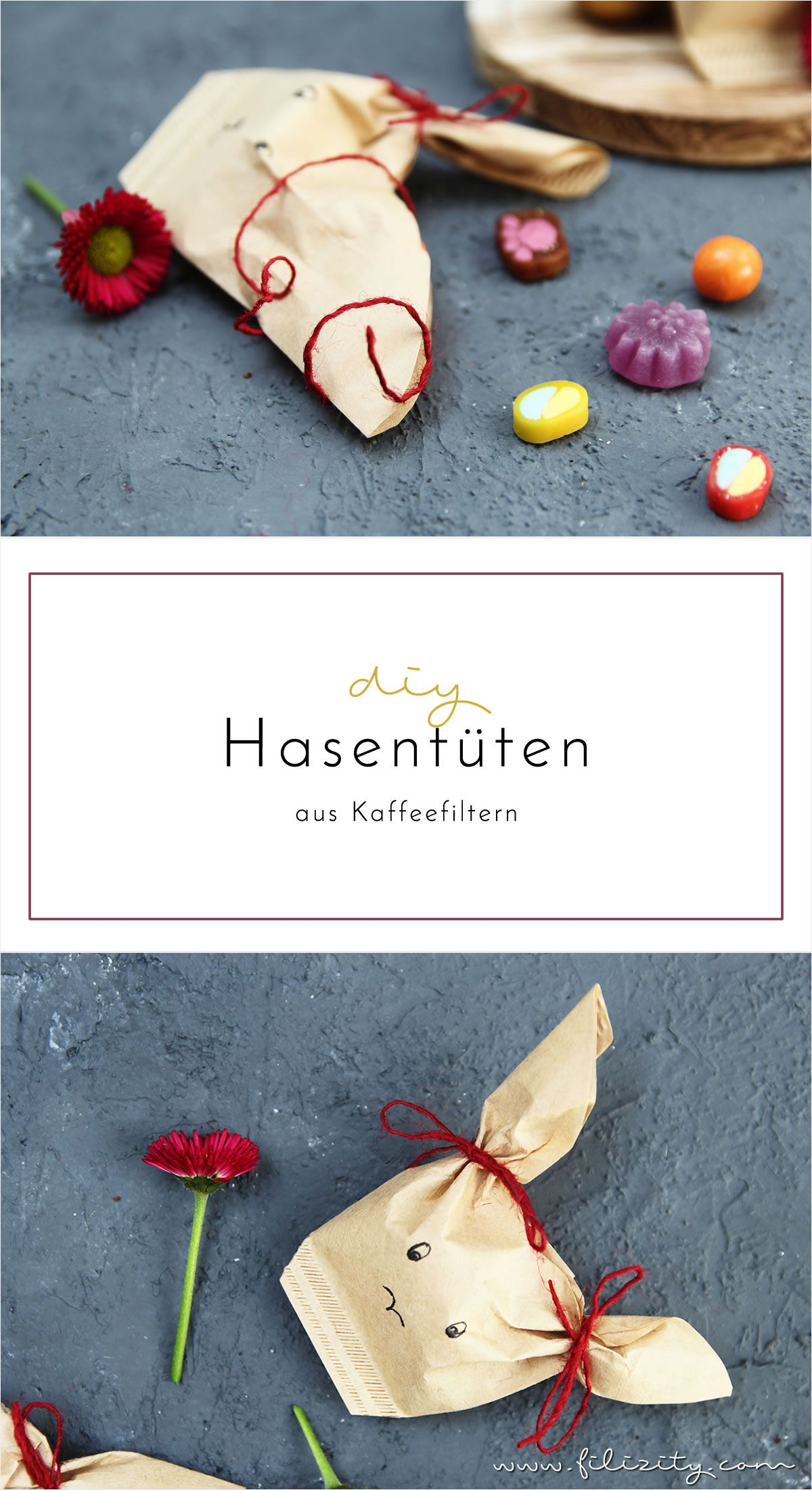 ostergeschenke verpacken diy hasent ten aus kaffeefiltern ostergeschenk schenken und h bsch. Black Bedroom Furniture Sets. Home Design Ideas