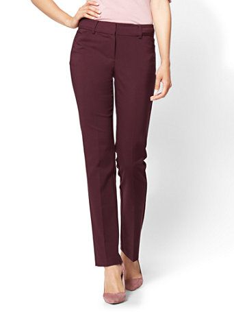 6fe197dbf Shop 7th Avenue Pant - Straight Leg - Signature - All-Season Stretch -  Burgundy . Find your perfect size online at the best price at New York &  Company.