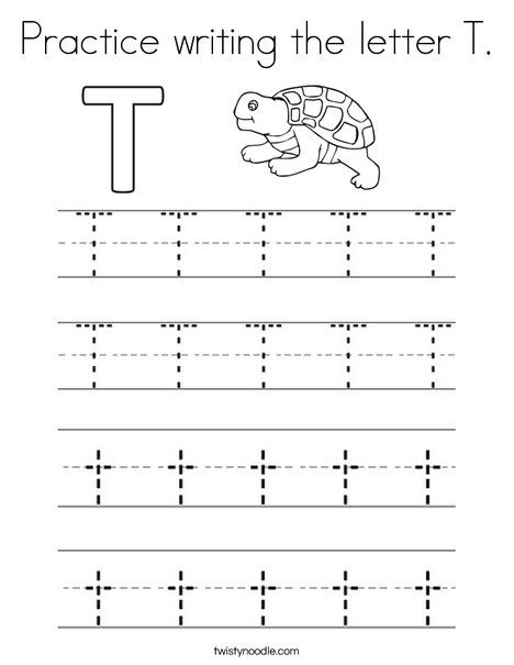 Practice writing the letter T Coloring Page - Twisty ...