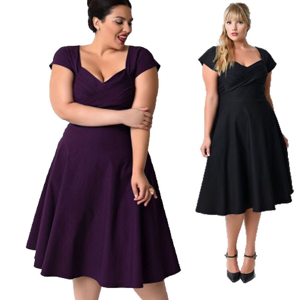Plus Size 50s 60s Vintage Womens Classic Housewife Swing Rockabilly