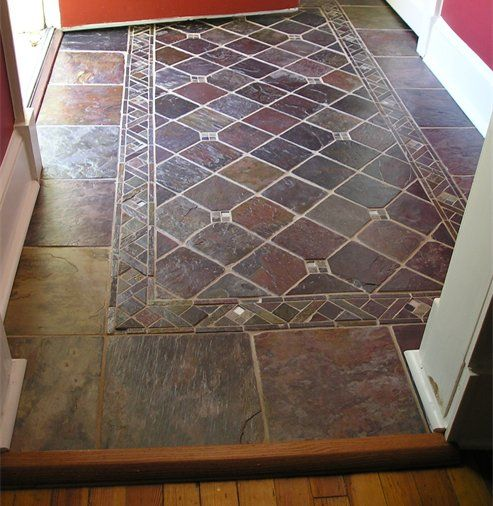 Gorgeous Slate Tile Entryway Finished With Gloss Sealer Entryway