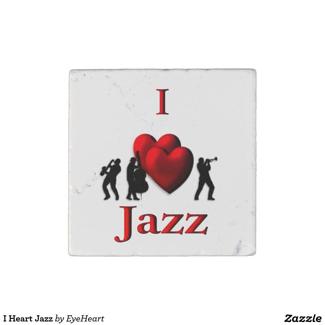 I Heart Jazz Stone Magnet