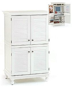Attirant Computer Armoire With Distressed White Finish